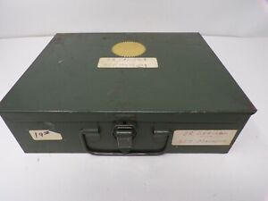 vintage  utility metal field ammo box army green  517