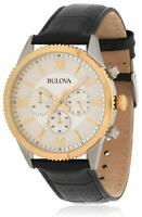 Bulova Men's Quartz Chronograph 42mm White Dial Black Leather Watch 98A218