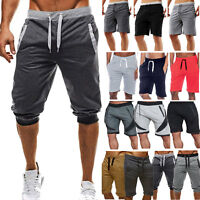 Mens 3/4 Calf Jogger Fitness Shorts Harem Pants Sport Trousers Sweatpants Summer