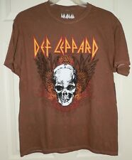 New Mens Large 42-44 Def Leopard T-Shirt Skull Brown 100% Cotton