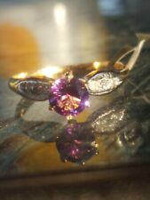 Alexandrite Round Cut And Diamond Ring 10kt Solid Yellow Gold