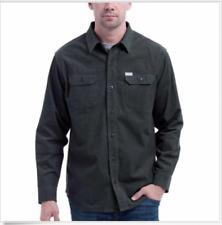 Eddie Bauer Men Medium Button Front Shirt Cross Cut Corduroy Green Cotton