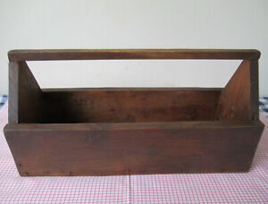 """Vintage Tool Box, Pine Wood Primitive, Traces Brown Paint, 18"""" x 7"""" x 9"""" Tall"""