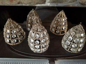 5 Vintage Crystal Beaded Metal Light Shades