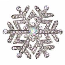 RUCINNI Snowflake Brooch, Imitation Rhodium Plated & Swarovski Crystals