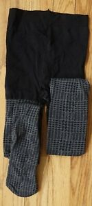 Houndstooth/striped check black/gray pantyhose tights, size S