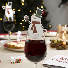 10pcs/set Christmas Snowman Wine Glass Decoration Cards Xmas Party Ornaments