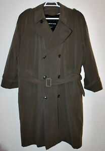 """PIERRE CARDIN LONG TRENCH COAT DOUBLE-BREASTED REMOVABLE LINING CHEST 52"""" GREEN"""