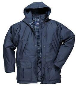 Waterproof Lined Rain Coat classic padded Jacket 6 pockets & hood Portwest S521