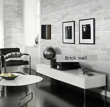 White Grey Real Looking Deep Embossed Textured 3D Brick Pattern Wallpaper Roll$A