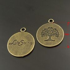 38023 Antique Bronze Alloy Engraved Tree Pendants Findings Charms Crafts 5pcs