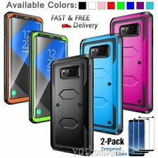 Samsung GALAXY S8 /Plus Hybrid Armor Rugged Hard Case Cover & Tempered Glass 2PK