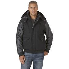 Men's Rocawear Big Hooded Jacket w/ Leather-Look Sleeves Black 4XL #NJHSH-652