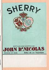 Etiqueta de Vini Sherry John Dº Nicolas Jerez de la Frontera (CU-308)
