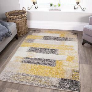 Modern Ochre Mustard Lemon Yellow {Rugs} Living Room Small Large Geometric Rugs