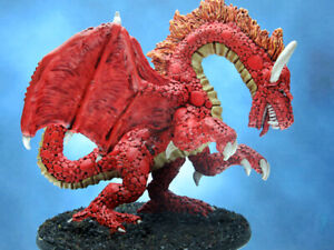Painted Ironwind Metals Miniature Rearing Fire Dragon