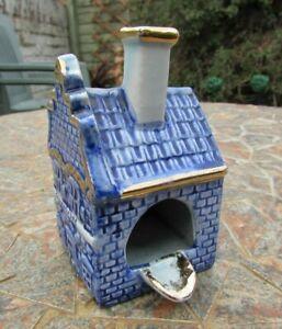 Vintage Delft Pottery Dutch Tavern Ashtray -'EGMOND ZEE' -Blue & Gilt Good 4 Age