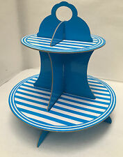 New cupcake display stand 2 tier Blue Stripe birthday wedding christenings cakes