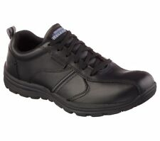 Skechers Mens HOBBES-FRAT Slip Resistant Work Shoes Black leather upper US 11.5M