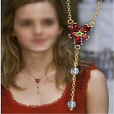 Red Crystal Beads Flower Pendant Necklace Sweater Chain