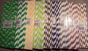 "25 x Paper Drinking Straws 8"" Eco Friendly Party, Birthdays, Etc Various Colours"