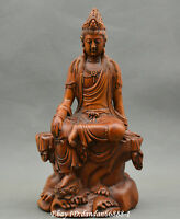Collect Chinese boxwood Hand carved Buddhism Guanyin Kwan-yin Buddha statue