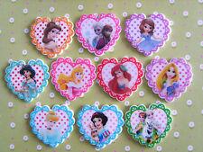 10 X Princesa Disney Little Corazón Resina Dorso duro para Libros planas, Adorno, arco de pelo