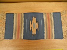 Chimayo Spanish Colonial Rug Hand Woven Geometric Design 20½ by 10 Inches EUC