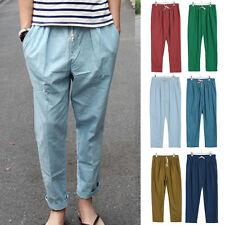 2017 Stylish Men Casual Linen Slacks Loose Pants Beach Drawstring fit Trousers