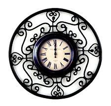 Maison De Poupées Fancy Noir Fer Forgé Encadré Horloge Mural Rond