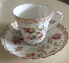Antique Dresden Germany Teacup & Saucer Floral Purple Orange White Gold Trim