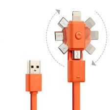 Micro USB + Lightning Sync 2 in 1 Data Charger Cable For Apple & Android