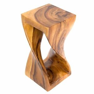 """Small Twist Table/Hand Carved Solid Wood/Lamp Table/Plant Stand/Honey 16"""""""