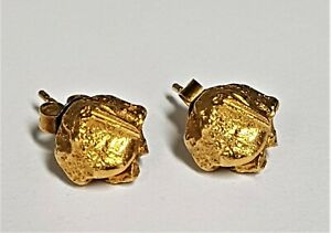 14CT GOLD NUGGET STUD EARRINGS.   4.27g    ref:xHED