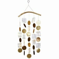 White Brown Orange Gold with Bamboo Arch Capiz Shell Wind Chimes Free Ship