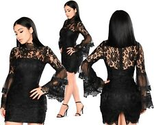 Abito ricamato nudo Pizzo Cerimonia Cocktail Ballo Floral Lace Party Dress M