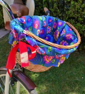 Bike Basket Folk Flowers on Navy Blue -wicker metal insert cover cycling