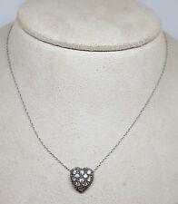 """Vintage Estate Sterling Silver Heart Slide Pendant Necklace ~ 15.5"""""""