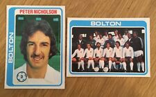 2 Trade Cards Bolton Player/Team by Topps 1979 Footballers (Pale Blue Back)