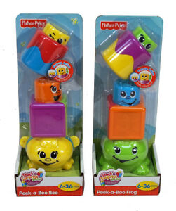 Fisher Price Stack 'n Surprise Blocks ~ SET OF 2 ~ Peek-a-Boo Bee + Frog ~ NEW