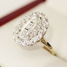 Gorgeous vintage yellow and white gold Diamond ring, with lovely floral features