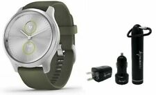 Garmin Vivomove 3 Style Moss Green Silver Hybrid Smartwatch and Wearable4U Pack