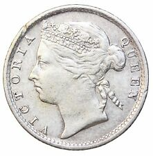 1889 Straits Settlements Silver 10 Ten Cents British Queen Victoria KM#11
