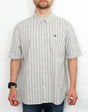 Mens Fred Perry Short Sleeve Casual Gingham Checked Shirt Size Large Summer