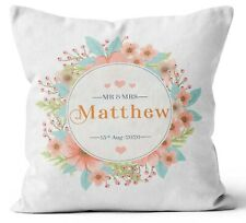 Personalised Any Text Name Cushion Floral Design Mothers Day Wedding Gift 95