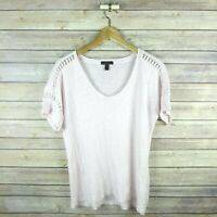 J.CREW Women's Embroidered Linen Lace T-shirt Short Sleeve Blouse S Small Pink