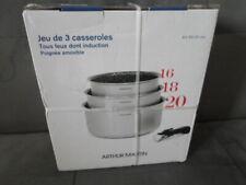 SET DE 3 CASSEROLES + POIGNEE AMOVIBLE ARTHUR MARTIN NEUF
