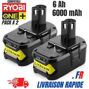 Batterie pour Ryobi 6,0 Ah 18V Li-Ion ONE Plus P104 P105 P102 P103 P107 Pack x2