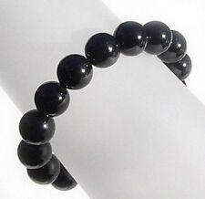 Large black agate bead stretch bracelet - 12mm