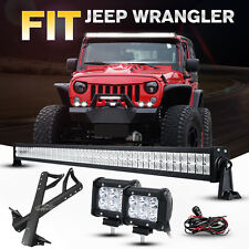 "For Jeep Wrangler JK 52INCH 700W LED Work Light Bar +4"" 18W +Mount Brackets 50"""
